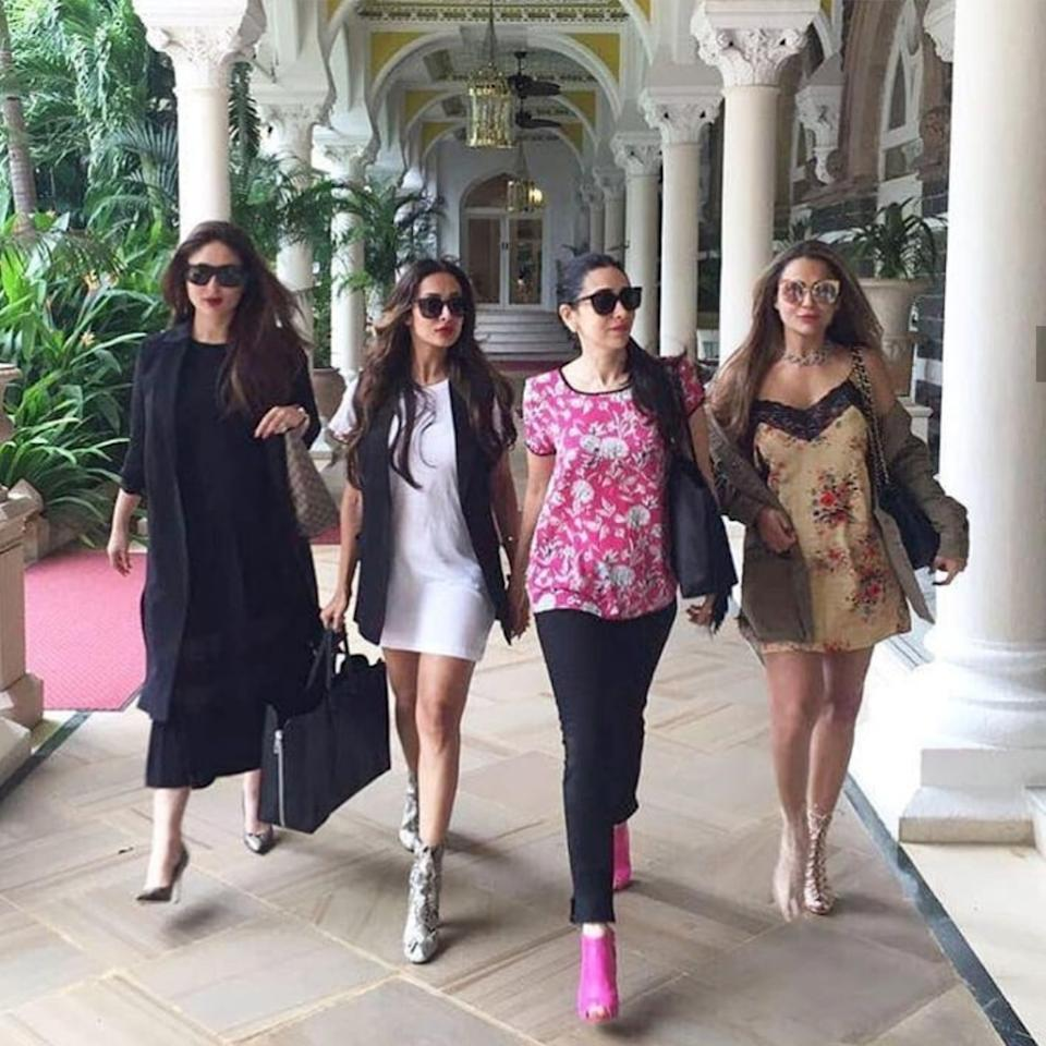 Stuck behind the doors, Kareena Kapoor Khan's throwback shot was dedicated to her gang of girls. We know that the Kapoor girls are BFFs with the Arora sisters and have taken several vacations together. This picture pays homage to the days when they would book a table for four at the fanciest restaurants.