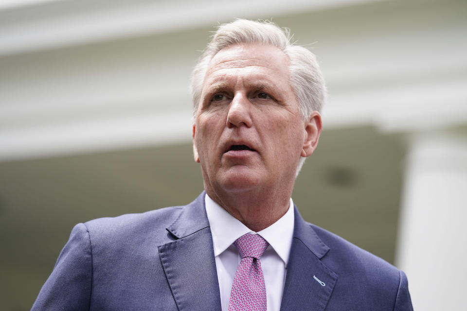 House Minority Leader Kevin McCarthy of Calif., speaks to reporters outside the White House after a meeting with President Joe Biden, Wednesday, May 12, 2021, in Washington. (AP Photo/Evan Vucci)