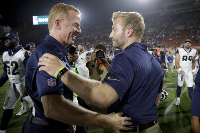 FILE - In this Aug. 12, 2017, file photo, Los Angeles Rams head coach Sean McVay , right, greets Dallas Cowboys head coach Jason Garrett, left, after a preseason NFL football game, in Los Angeles. The Rams and Cowboys meet in a divisional playoff game on Saturday, Jan. 12, 2019.(AP Photo/Jae C. Hong, File)