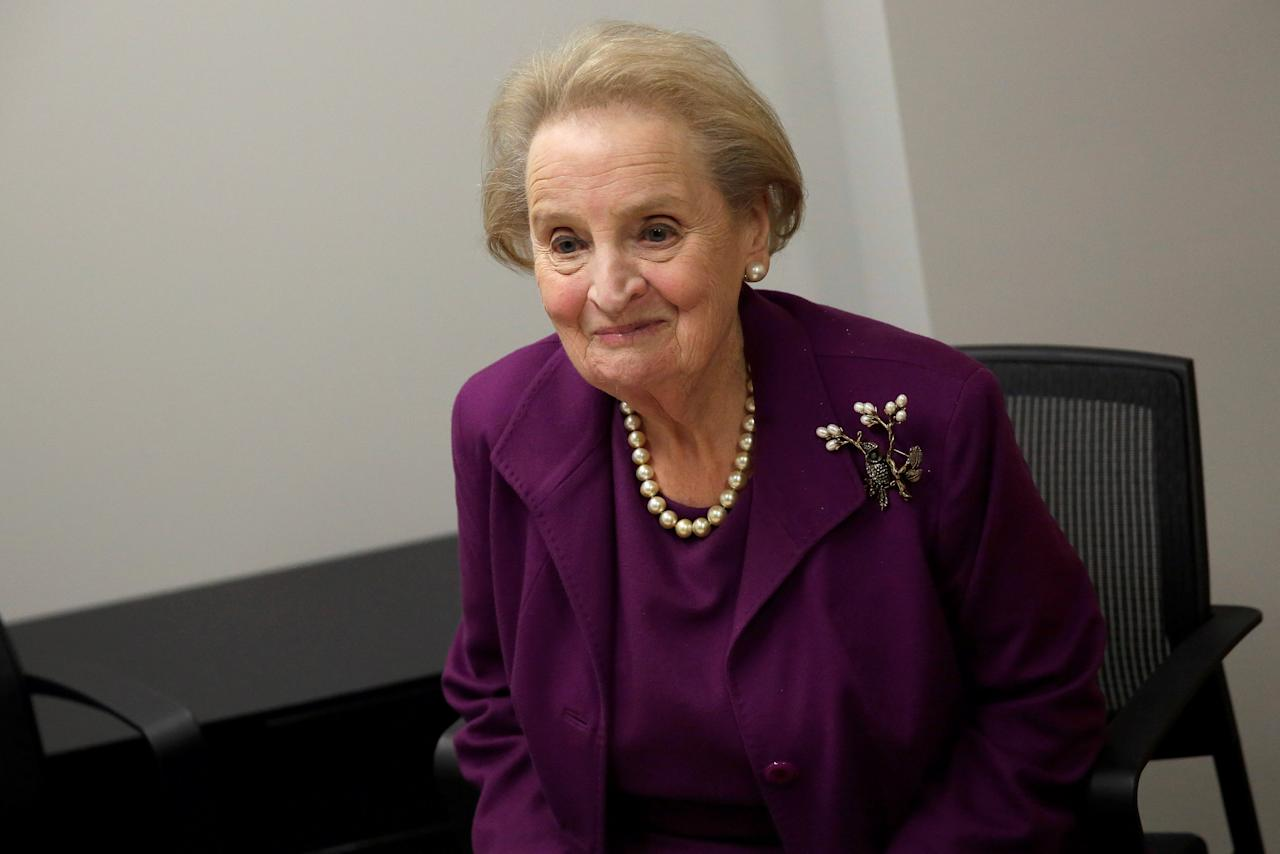 Former U.S. Secretary of State Madeleine Albright speaks before an interview in Washington, U.S., November 28, 2016. Picture taken November 28, 2016. To match interview MIDEAST-CRISIS/REPORT  REUTERS/Joshua Roberts