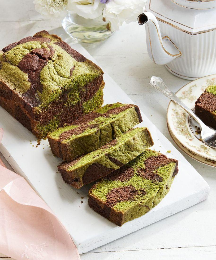 """<p>This sophisticated pound cake is a looker! Green-tea batter and chocolate batter get swirled together to create marbled look.<strong><a href=""""https://www.countryliving.com/food-drinks/a26861228/chocolate-matcha-pound-cake-recipe/"""" rel=""""nofollow noopener"""" target=""""_blank"""" data-ylk=""""slk:Get the recipe"""" class=""""link rapid-noclick-resp""""><br><br>Get the recipe</a>.</strong><br></p>"""