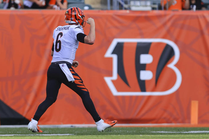 Cincinnati Bengals quarterback Kyle Shurmur (6) celebrates a throw for a touchdown against the Miami Dolphins in the second half of an NFL exhibition football game in Cincinnati, Sunday, Aug. 29, 2021. (AP Photo/Aaron Doster)