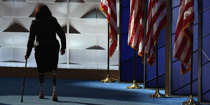 Then-Rep. Tammy Duckworth of Illinois walking off the stage after addressing the crowd during the final day of the Democratic National Convention in Philadelphia on July 28, 2016.