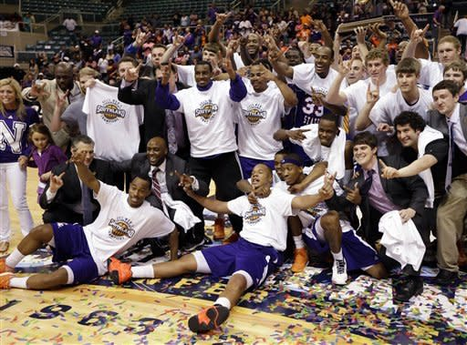Northwestern State players celebrate after winning the Southland Conference tournament championship basketball game against Stephen F. Austin, Saturday, March 16, 2013, in Katy, Texas. Northwestern State won 68-66. (AP Photo/David J. Phillip)