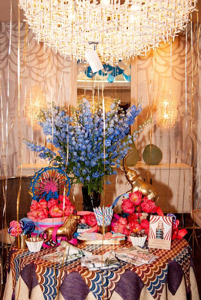 Paige Gaston of Cullman & Kravis Associates pulled out the bold colors of her R. Holland fabric with richly hued floral arrangements.