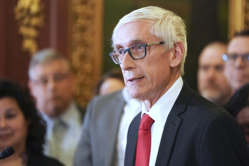 Wisconsin Gov. Tony Evers holds a press conference in Madison, Wis. on Feb. 6, 2020. (Steve Apps/Wisconsin State Journal via AP)