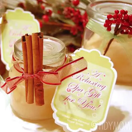 """<p>The holidays can be a super-busy, stressful time. Help those on your gift list unwind with this exfoliating sugar scrub that smells of cinnamon and vanilla.</p><p><strong>Get the tutorial at <a href=""""https://tidymom.net/sugar-scrub-recipe/"""" rel=""""nofollow noopener"""" target=""""_blank"""" data-ylk=""""slk:Tidy Mom"""" class=""""link rapid-noclick-resp"""">Tidy Mom</a>.</strong></p><p><a class=""""link rapid-noclick-resp"""" href=""""https://www.amazon.com/Pompeian-Extra-Light-Tasting-Olive/dp/B009HU8XIU/ref=asc_df_B009HU8XIU/?tag=syn-yahoo-20&ascsubtag=%5Bartid%7C10050.g.2132%5Bsrc%7Cyahoo-us"""" rel=""""nofollow noopener"""" target=""""_blank"""" data-ylk=""""slk:SHOP LIGHT OLIVE OIL"""">SHOP LIGHT OLIVE OIL</a><br></p>"""