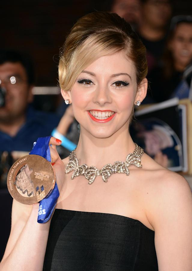 """Gracie Gold arrives at the world premiere of """"Divergent"""" at the Westwood Regency Village Theater on Tuesday, March 18, 2014, in Los Angeles. (Photo by Jordan Strauss/Invision/AP)"""