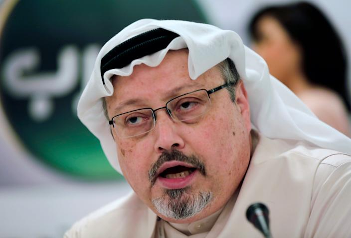 In this Feb. 1, 2015, file photo, Saudi journalist Jamal Khashoggi speaks during a press conference in Manama, Bahrain. A pro-government Turkish newspaper on Wednesday, Oct. 17, 2018 published a gruesome recounting of the alleged slaying of Saudi writer Jamal Khashoggi at the Saudi Consulate in Istanbul, just as America's top diplomat arrived in the country for talks over the Washington Post columnist's disappearance. (AP Photo/Hasan Jamali, File)