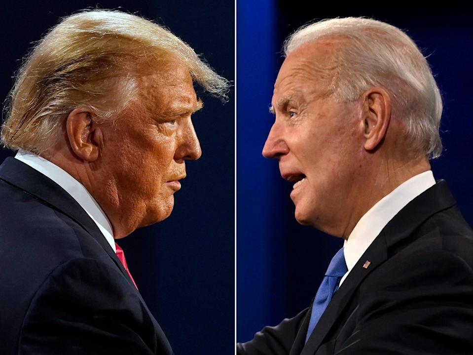 This combination of file pictures created on 22 October 2020 shows US President Donald Trump (L) and Democratic Presidential candidate and former US Vice President Joe Biden during the final presidential debate at Belmont University in Nashville, Tennessee ((AFP via Getty Images))
