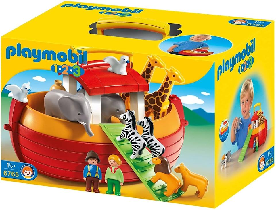 """Toddlers tend to lose a thing or two, and this play set comes with pairs of figures (doubles!) that can be played with on land and sea (but preferably not thrown into the air).<br /><br /><strong>Promising review:</strong>""""This toy far exceeded our expectation in the fact it has turned into a fantastic bath toy! At first, our 2-year-old would play with the animals on the floor but we quickly learned she had more fun with it in the tub. It is a great versatile toy for that reason.<strong>It is also nice in the fact it doesn't make any noises so she is encouraged to make her own noises for the animals, people, and when the boat moves.</strong>This really helps fosters her creativity and imagination."""" —<a href=""""https://amzn.to/3xpZUqz"""" target=""""_blank"""" rel=""""noopener noreferrer"""">Mhardee</a><br /><strong><br />Get it from Amazon for<a href=""""https://amzn.to/3gJpvF1"""" target=""""_blank"""" rel=""""noopener noreferrer"""">$41.25</a>.</strong>"""