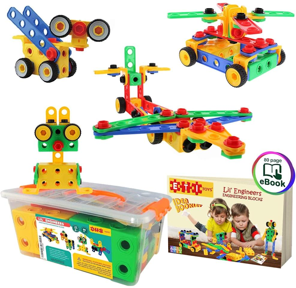 "<p>They'll stay entertained for hours, because this <a href=""https://www.popsugar.com/buy/ETI-Toys-STEM-Learning-Original-101-Piece-Educational-Construction-Blocks-Set-517788?p_name=ETI%20Toys%20STEM%20Learning%20Original%20101%20Piece%20Educational%20Construction%20Blocks%20Set&retailer=amazon.com&pid=517788&price=30&evar1=moms%3Aus&evar9=46095735&evar98=https%3A%2F%2Fwww.popsugar.com%2Ffamily%2Fphoto-gallery%2F46095735%2Fimage%2F46901799%2FETI-Toys-STEM-Learning-Original-101-Piece-Educational-Construction-Blocks-Set&list1=shopping%2Ctoys%2Cgift%20guide%2Ckid%20shopping&prop13=api&pdata=1"" rel=""nofollow"" data-shoppable-link=""1"" target=""_blank"" class=""ga-track"" data-ga-category=""Related"" data-ga-label=""https://www.amazon.com/ETI-Toys-Educational-Construction-Engineering/dp/B0164WC4RY/ref=sr_1_16?crid=1SZBUBANFE9ME&amp;keywords=toys+for+4+year+old&amp;qid=1573762589&amp;sprefix=toys+for+4%2Caps%2C227&amp;sr=8-16"" data-ga-action=""In-Line Links"">ETI Toys STEM Learning Original 101 Piece Educational Construction Blocks Set</a> ($30) has so many building options.</p>"