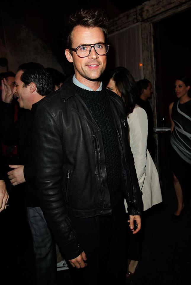 "Celebrity stylist Brad Goreski was on trend in a fitted black leather jacket paired with a knit sweater and geeky glasses. Donato Sardella/<a href=""http://www.gettyimages.com/"" target=""new"">GettyImages.com</a> - February 24, 2011"