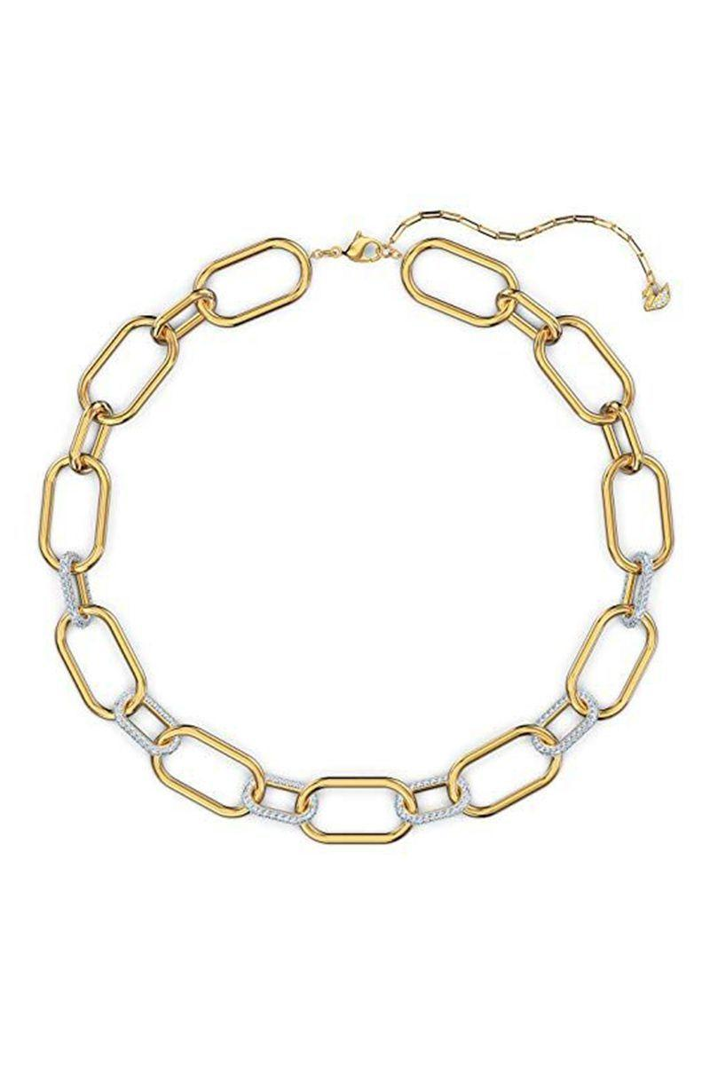 """<p><strong>SWAROVSKI</strong></p><p>amazon.com</p><p><strong>$254.84</strong></p><p><a href=""""https://www.amazon.com/dp/B08CKCHJ4H?tag=syn-yahoo-20&ascsubtag=%5Bartid%7C10056.g.36664390%5Bsrc%7Cyahoo-us"""" rel=""""nofollow noopener"""" target=""""_blank"""" data-ylk=""""slk:Shop Now"""" class=""""link rapid-noclick-resp"""">Shop Now</a></p><p>A chunky gold-tone chain, unlike the rest. This design features chain links with white glass crystal accents, a dazzling addition to a forever staple. </p>"""