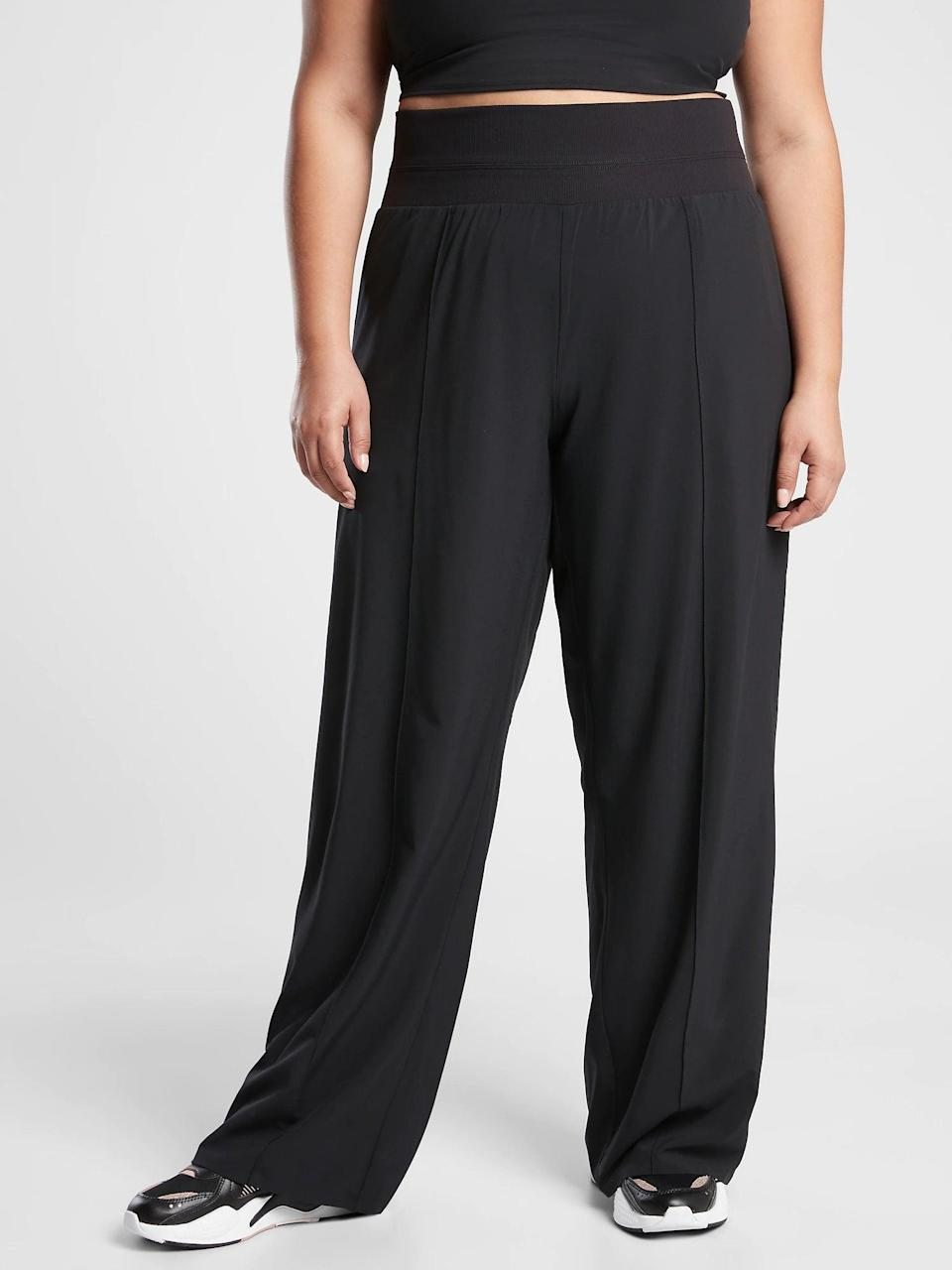 """<h2>Athleta Nolita Wide Leg</h2><br>Wide-legged cuts are an underrated hero when it comes to good travel pants. They offer some additional circulation for when you and your partner are fighting over the A/C knobs during a long-distance car drive, and they allow your legs to feel a little less restricted. <br><br><em>Shop <strong><a href=""""https://athleta.gap.com/"""" rel=""""nofollow noopener"""" target=""""_blank"""" data-ylk=""""slk:Athleta"""" class=""""link rapid-noclick-resp"""">Athleta</a></strong></em><br><br><strong>Athleta</strong> Nolita Wide Leg, $, available at <a href=""""https://go.skimresources.com/?id=30283X879131&url=https%3A%2F%2Fathleta.gap.com%2Fbrowse%2Fproduct.do%3Fpid%3D657665002%26pcid%3D999%26vid%3D1%26%26searchText%3Dtravel%23pdp-page-content"""" rel=""""nofollow noopener"""" target=""""_blank"""" data-ylk=""""slk:Athleta"""" class=""""link rapid-noclick-resp"""">Athleta</a>"""