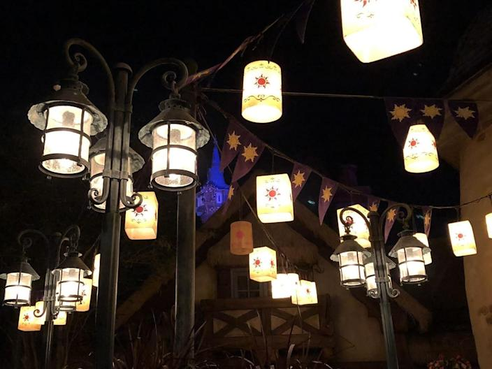 the lights outside the bathroom tangled in the magic kingdom of disney world