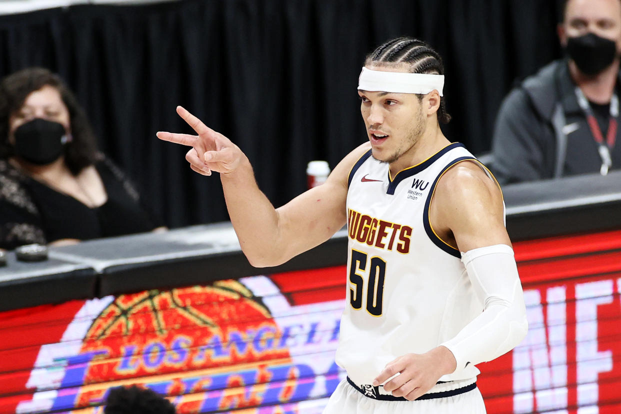 PORTLAND, OREGON - JUNE 03: Aaron Gordon #50 of the Denver Nuggets reacts after his three point basket against the Portland Trail Blazers in the fourth quarter during Round 1, Game 6 of the 2021 NBA Playoffs at Moda Center on June 03, 2021 in Portland, Oregon. NOTE TO USER: User expressly acknowledges and agrees that, by downloading and or using this photograph, User is consenting to the terms and conditions of the Getty Images License Agreement. (Photo by Steph Chambers/Getty Images)
