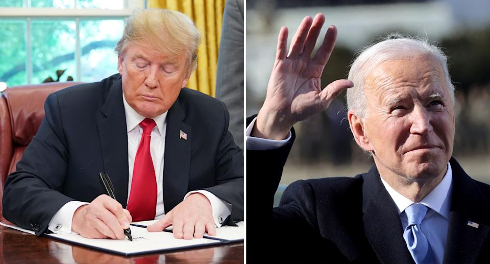 Donald Trump writing a letter (left) and Joe Biden after being sworn in as President (right).