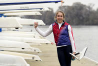Rower Gevvie Stone poses for a photo at Lady Bird Lake ahead of the upcoming U.S. Olympic rowing trials, Friday, Feb. 12, 2021, in Austin, Texas. The 35-year-old, two-time Olympian and 2016 silver medalist in women's single sculls will be rowing for a return to the Olympics starting Monday, Feb. 20 when the U.S. trials begin in Sarasota, Fla. (AP Photo/Eric Gay)