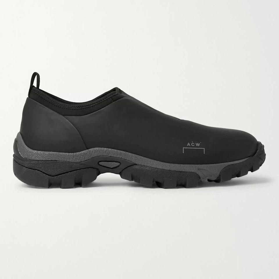 """<p><strong>Dirt Mock Sneakers</strong></p><p>mrporter.com</p><p><strong>$325.00</strong></p><p><a href=""""https://go.redirectingat.com?id=74968X1596630&url=https%3A%2F%2Fwww.mrporter.com%2Fen-us%2Fmens%2Fproduct%2Fa-cold-wall%2Fshoes%2Fslip-on-sneakers%2Fdirt-mock-leather-and-neoprene-slip-on-sneakers%2F30828384629611854&sref=https%3A%2F%2Fwww.esquire.com%2Fstyle%2Fmens-accessories%2Fadvice%2Fg2538%2Fluxury-sneaker-brands-worth-spending-money%2F"""" rel=""""nofollow noopener"""" target=""""_blank"""" data-ylk=""""slk:Shop Now"""" class=""""link rapid-noclick-resp"""">Shop Now</a></p><p>British brand A-COLD-WALL* has built a reputation on an almost-architectural approach to design, and the label's sneakers are in keeping with that attitude. These seemingly simple sneakers are, upon closer inspection, and almost brutalist project, balancing a minimal-but-somewhat-bulbous upper on a robust, heavily treaded sole. The overall effect is more than the sum of its parts.</p>"""