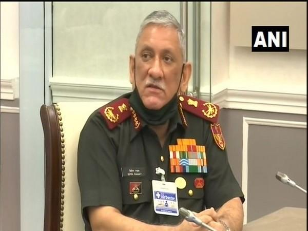 Chief of Defence Staff General Bipin Rawat speaking at the video conference on Tuesday.