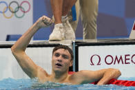 Robert Finke, of the United States, celebrates after winning the men's 800-meters freestyle final at the 2020 Summer Olympics, Thursday, July 29, 2021, in Tokyo, Japan. (AP Photo/Martin Meissner)