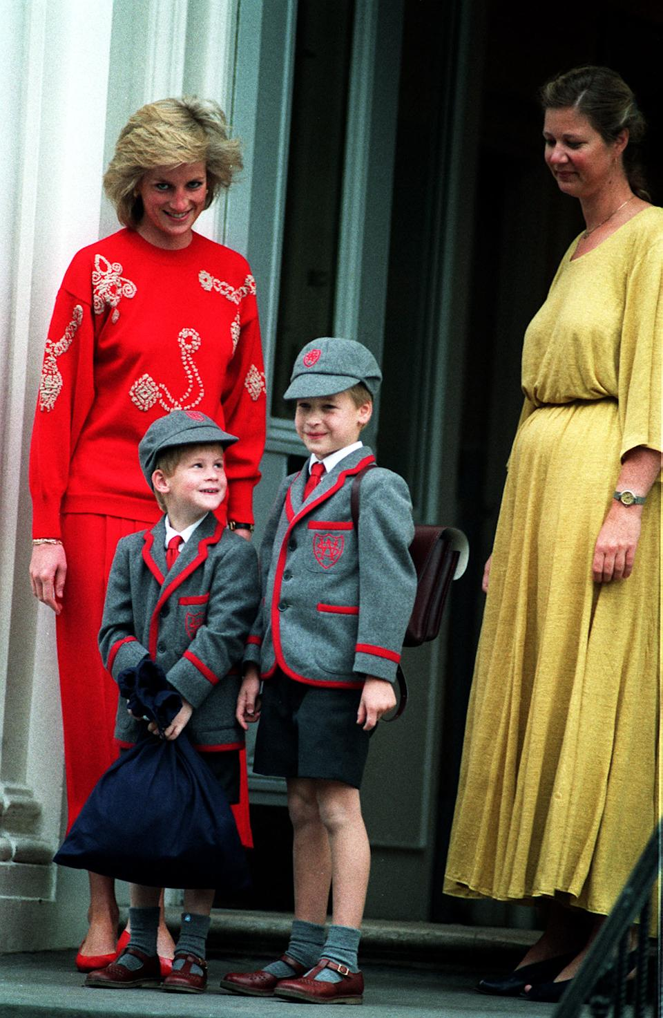 Prince Harry joins his brother Prince William at Wetherby School, accompanied by their mother Princess Diana, in 1989. [Photo: PA]