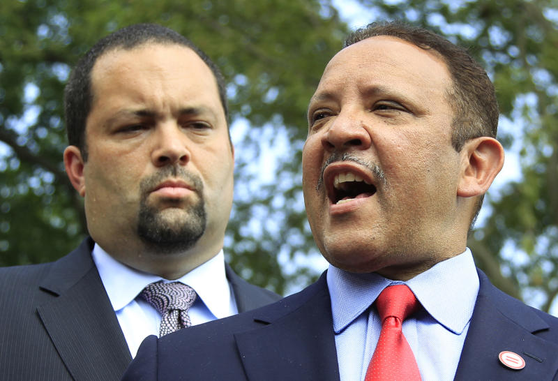 Marc Morial, right, president of the National Urban League, and Ben Jealous, president of the National Association for the Advancement of Colored People, speak to reporters after a meeting with President Barack Obama at the White House in Washington, Thursday, July 21, 2011.  (AP Photo/Manuel Balce Ceneta)