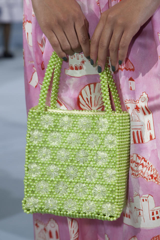 <p><i>Green beaded handbag from the SS18 Shrimps collection. (Photo: ImaxTree) </i></p>