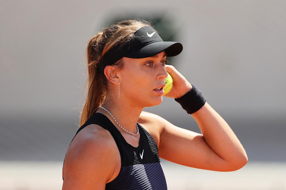 PARIS, FRANCE - MAY 30: Paula Badosa of Spain looks on in her First Round match against Lauren Davis of The United States during Day One of the 2021 French Open at Roland Garros on May 30, 2021 in Paris, France. (Photo by Clive Brunskill/Getty Images)