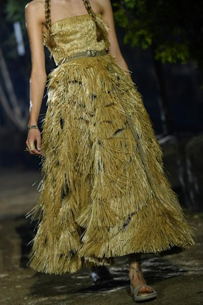 Materials such as hemp and raffia were used which pushed the couture boundaries