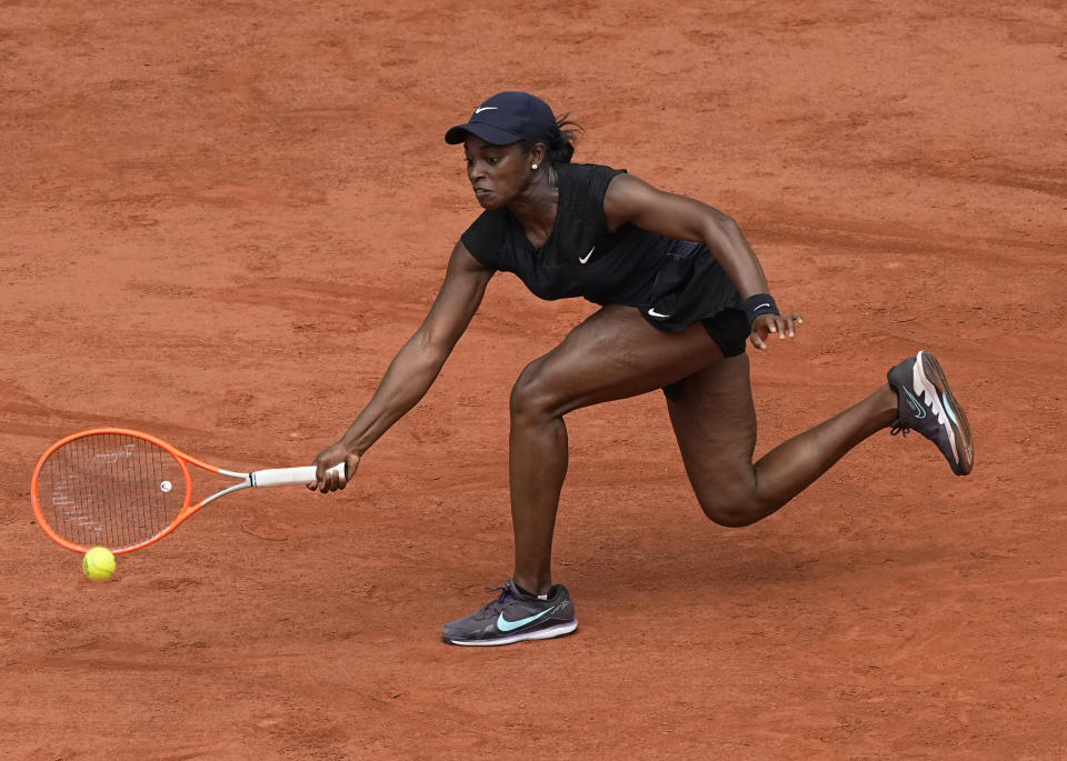 United States's Sloane Stephens plays a return to Czech Republic's Karolina Pliskova during their second round match on day 5, of the French Open tennis tournament at Roland Garros in Paris, France, Thursday, June 3, 2021. (AP Photo/Michel Euler)