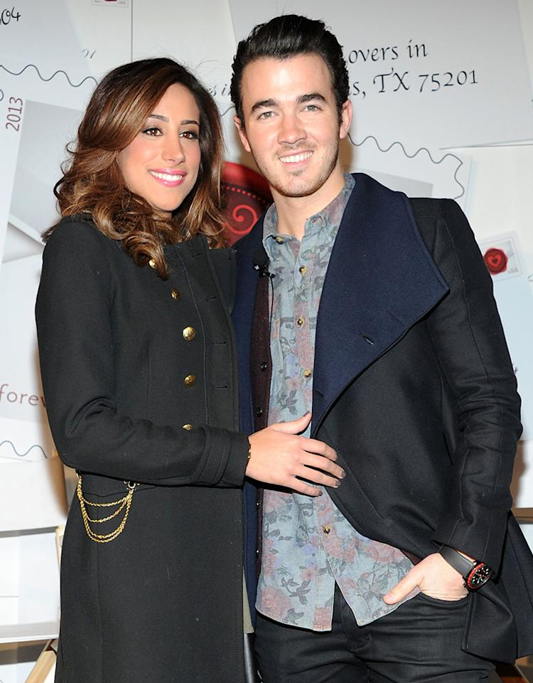 "NEW YORK, NY - FEBRUARY 05:  Danielle Jonas and Kevin Jonas attend 2013 ""Sealed With Love"" U.S. Postal Stamp Unveiling at Broadway Pedestrian Plaza on February 5, 2013 in New York City.  (Photo by Ben Gabbe/Getty Images)"