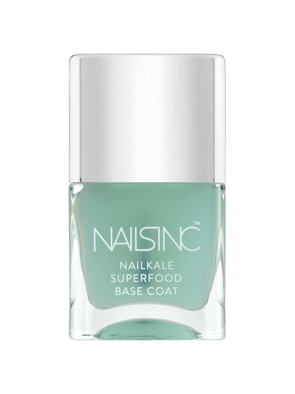 "<p>This <a href=""https://www.refinery29.com/en-us/glitter-nail-polish#slide-7"" rel=""nofollow noopener"" target=""_blank"" data-ylk=""slk:Nails Inc"" class=""link rapid-noclick-resp"">Nails Inc</a> base coat — infused with keratin, aloe, vitamin E, and, of course, kale extract — is a $15 investment in <a href=""https://www.refinery29.com/en-us/best-nail-strengthener"" rel=""nofollow noopener"" target=""_blank"" data-ylk=""slk:hard, glossy nails"" class=""link rapid-noclick-resp"">hard, glossy nails</a> for however long it takes you to drain the bottle. There's a reason the Sephora landing page has more than 150 glowing reviews.</p><br><br><strong>Nails Inc.</strong> NAILKALE - Superfood Base Coat, $15, available at <a href=""https://www.sephora.com/product/nailkale-superfood-base-coat-P388616?lang=en#locklink"" rel=""nofollow noopener"" target=""_blank"" data-ylk=""slk:Sephora"" class=""link rapid-noclick-resp"">Sephora</a>"