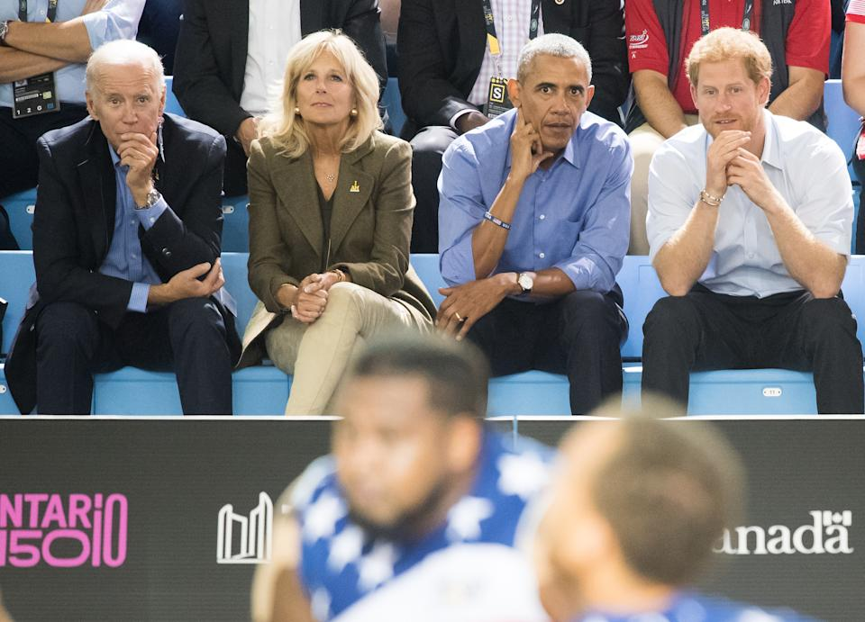 TORONTO, ON - SEPTEMBER 29:  Joe Biden, Jill Biden, Barack Obama and Prince Harry watch the wheelchair basketball on day 7 of the Invictus Games Toronto 2017 on September 29, 2017 in Toronto, Canada.  The Games use the power of sport to inspire recovery, support rehabilitation and generate a wider understanding and respect for the Armed Forces.  (Photo by Samir Hussein/Samir Hussein/WireImage)