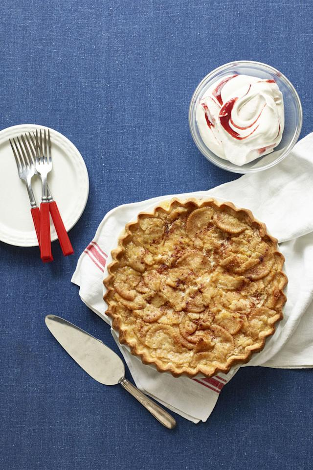 """<p>You won't miss the apples in this pie when you taste the tangy raspberry-swirled whipped-yogurt topping we've added to this vintage recipe from our September 1937 issue.<br></p><p><strong><a rel=""""nofollow"""" href=""""http://www.womansday.com/food-recipes/recipes/a60229/gingery-mock-apple-pie-recipe/"""">Get the recipe</a>.</strong></p>"""