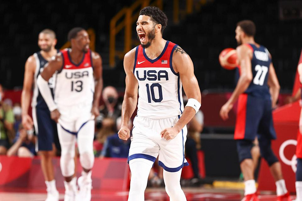 <p>Jayson Tatum of USA Men's National Basketball Team has a moment during the Gold Medal Game of the 2020 Tokyo Olympics. </p>