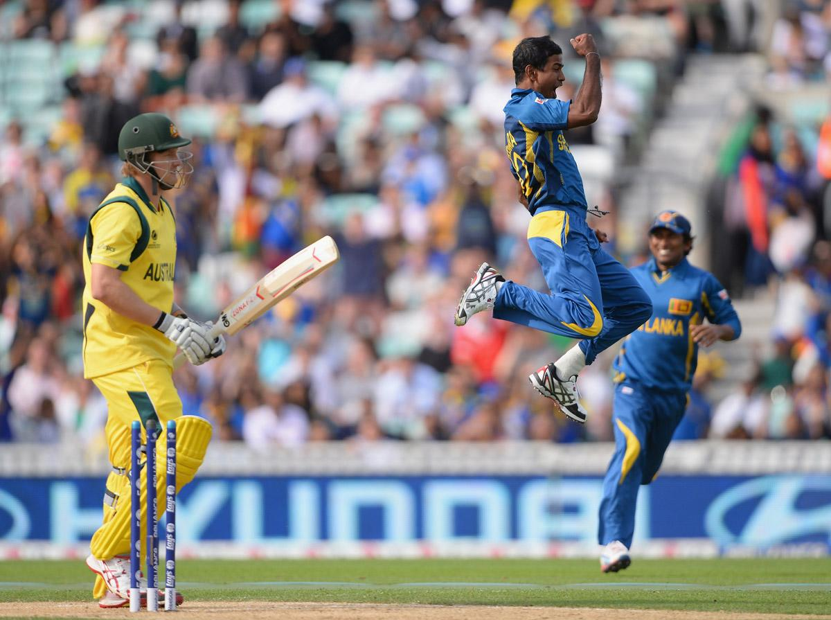 LONDON, ENGLAND - JUNE 17:  Nuwan Kulasekera of Sri Lamka celebrates wildly after bowling Shane Watson of Australia during the ICC Champions Trophy Group A fixture between Sri Lanka and Australia at The Kia Oval on June 17, 2013 in London, England.  (Photo by Mike Hewitt/Getty Images)