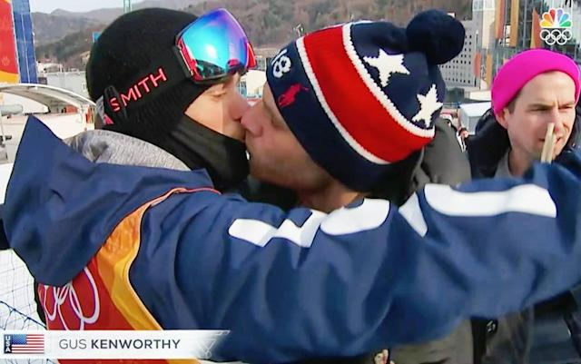 <p>guskenworthy: Kiss Kiss Bish!<br> Didn't realize this moment was being filmed yesterday but I'm so happy that it was. My childhood self would never have dreamed of seeing a gay kiss on TV at the Olympics but for the first time ever a kid watching at home CAN! Love is love is love. Also, shouts to @rightordoyle for being the third wheel of the century. Love you boo! (Photo via Instagram/guskenworthy) </p>