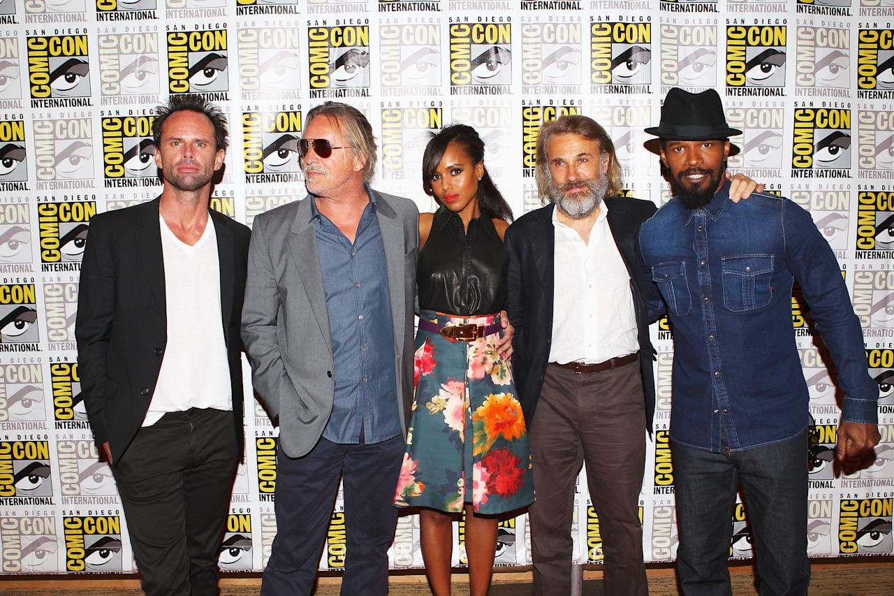 """SAN DIEGO, CA - JULY 14:  Actors Walton Goggins, Don Johnson, Kerry Washington, Christoph Waltz and Jamie Foxx attend """"Django Unchained"""" at Comic-Con 2012 at Hilton San Diego Bayfront Hotel on July 14, 2012 in San Diego, California.  (Photo by Joe Scarnici/Getty Images for The Weinstein Company)"""