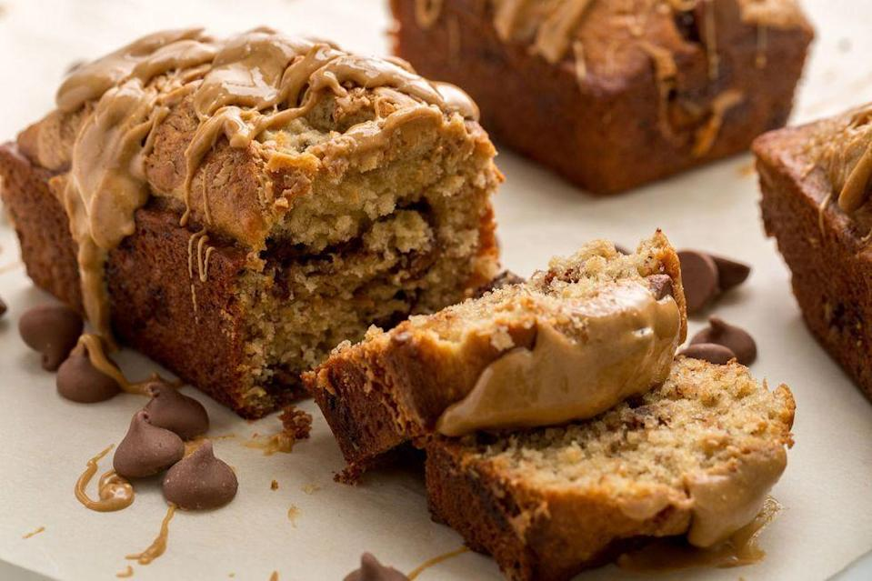 "<p>The best dessert combo ever makes its way to bread.</p><p>Get the <a href=""https://www.delish.com/uk/cooking/recipes/a34726360/chocolate-peanut-butter-banana-bread-recipe/"" rel=""nofollow noopener"" target=""_blank"" data-ylk=""slk:Chocolate-Peanut Butter Banana Bread"" class=""link rapid-noclick-resp"">Chocolate-Peanut Butter Banana Bread</a> recipe.</p>"