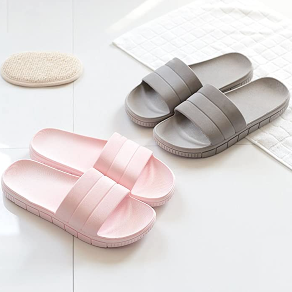 Fly Hawk Shower Slides in Pink and Grey (Photo via Amazon)