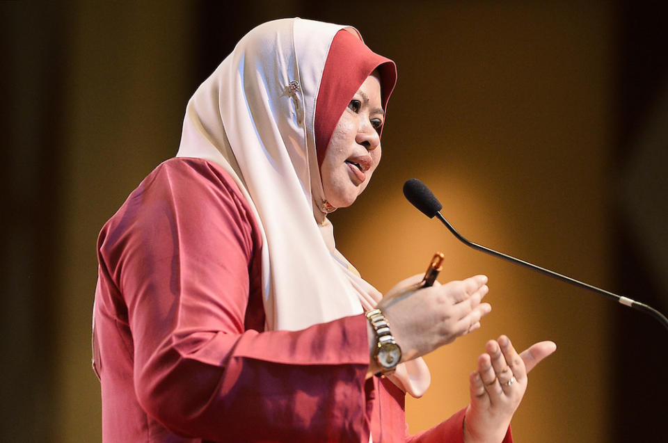Datuk Seri Rina Harun speaks during a stakeholders' meeting organised by the Rural Development Ministry in Putrajaya January 30, 2020. — Picture by Miera Zulyana