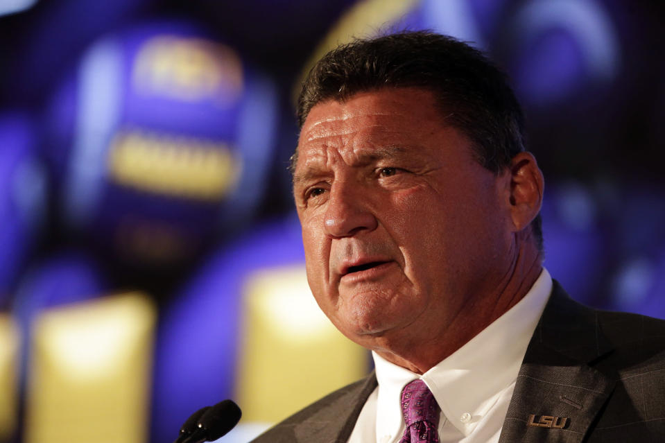 LSU head coach Ed Orgeron speaks to reporters during the NCAA college football Southeastern Conference Media Days Monday, July 19, 2021, in Hoover, Ala. (AP Photo/Butch Dill)