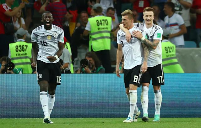 Soccer Football - World Cup - Group F - Germany vs Sweden - Fisht Stadium, Sochi, Russia - June 23, 2018 Germany's Toni Kroos celebrates scoring their second goal with Marco Reus REUTERS/Pilar Olivares