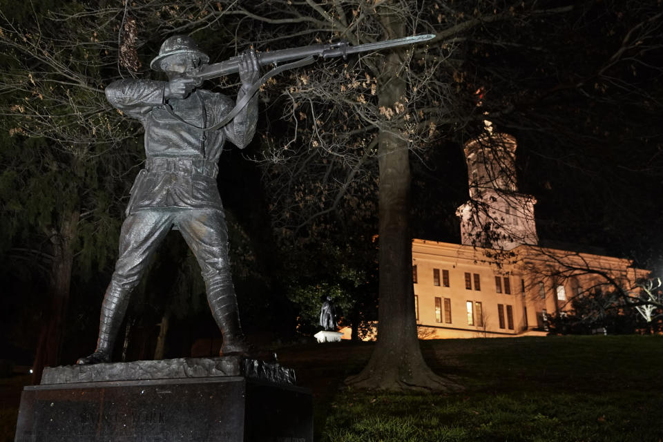 The statue of World War I hero Sgt. Alvin C. York stands on the grounds of the Tennessee State Capitol Tuesday, March 16, 2021, in Nashville, Tenn. The claim in Pennsylvania state Sen. Doug Mastriano's 2014 book about York, that a 1918 U.S. Army's signal corps photo was mislabeled and actually shows York with three German officers he captured, has been disputed by rival researchers. (AP Photo/Mark Humphrey)