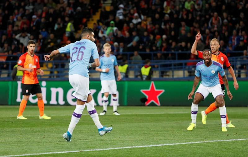 Soccer Football - Champions League - Group C - Shakhtar Donetsk v Manchester City - Metalist Stadium, Kharkiv, Ukraine - September 18, 2019 Manchester City's Riyad Mahrez scores their first goal REUTERS/Gleb Garanich