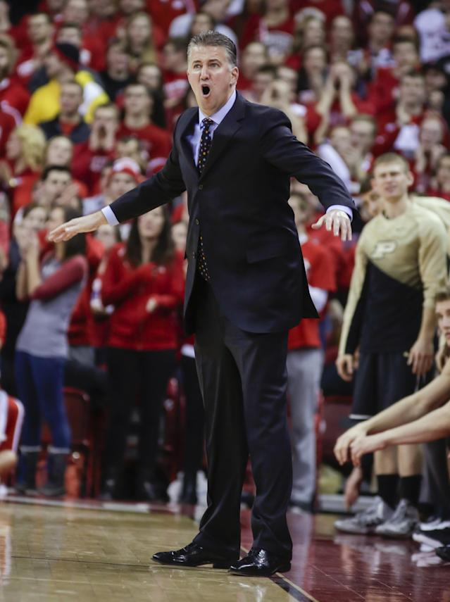 Purdue coach Matt Painter argues a call during the second half of an NCAA college basketball game against Wisconsin on Wednesday, Jan. 7, 2015, in Madison, Wis. Wisconsin won 62-55. (AP Photo/Andy Manis)