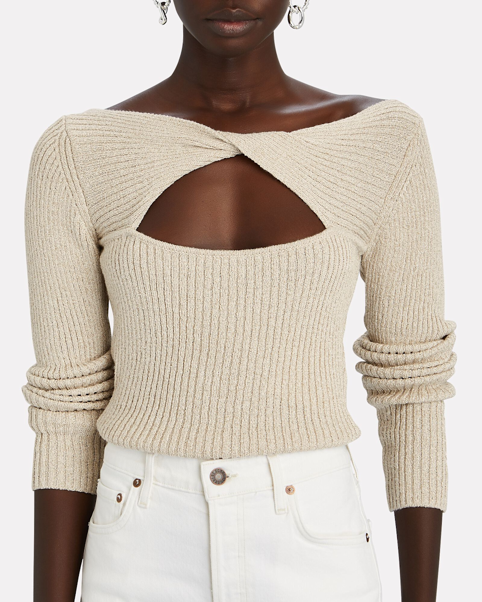 """<br><br><strong>Intermix</strong> Mylie Cut-Out Rib Knit Sweater, $, available at <a href=""""https://go.skimresources.com/?id=30283X879131&url=https%3A%2F%2Fwww.intermixonline.com%2Fintermix%2Fmylie-cut-out-rib-knit-sweater%2FDZ-INT791-EXCL.html"""" rel=""""nofollow noopener"""" target=""""_blank"""" data-ylk=""""slk:Intermix"""" class=""""link rapid-noclick-resp"""">Intermix</a>"""
