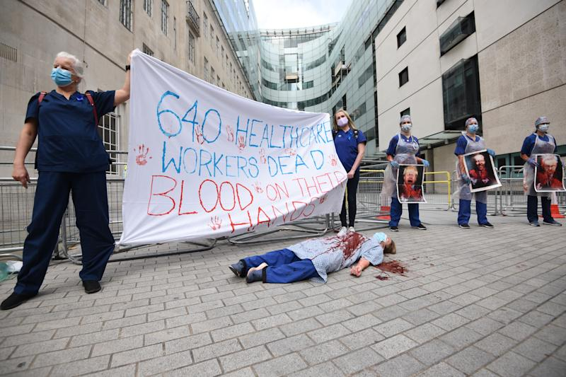 LONDON, ENGLAND - SEPTEMBER 12: NHS workers attend the 'March for Pay' Demonstration outside the BBC Broadcasting House in London, United Kingdom on September 12, 2020. (Photo by Kate Green/Anadolu Agency via Getty Images)